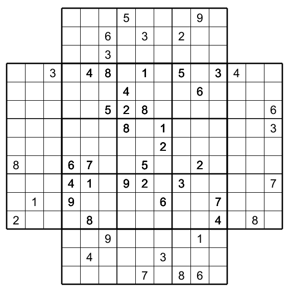 photo about Multi Sudoku Printable titled Multi Sudoku with 5 Sudoku : no 2