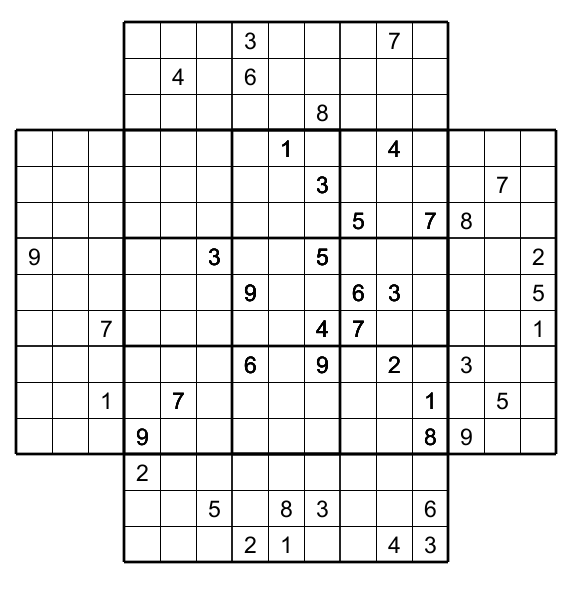 graphic relating to Multi Sudoku Printable known as Multi Sudoku with 5 Sudoku :no 1