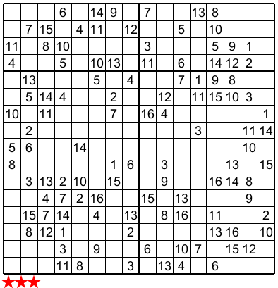 Gratifying image with regard to 16 square sudoku printable