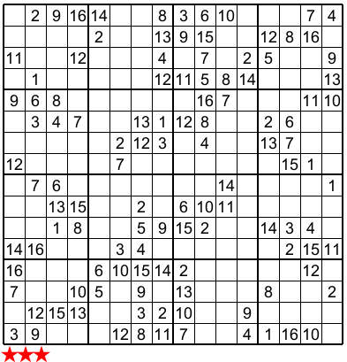 Delicate image with 16 square sudoku printable